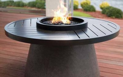 """Aragon 48"""" Round Fire Table with Slate Top"""